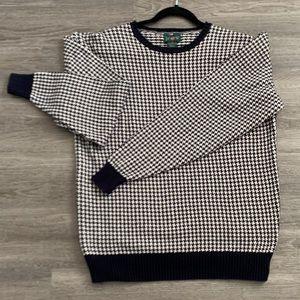 VINTAGE J Crew USA made Houndstooth print sweater
